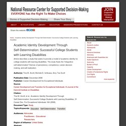 Academic Identity Development Through Self-Determination: Successful College Students with Learning Disabilities