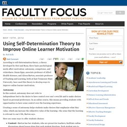 Using Self-Determination Theory to Improve Online Learner Motivation