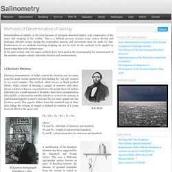 Methods of Determination of Salinity