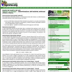 Enologia: Determinazione dell'anidride solforosa