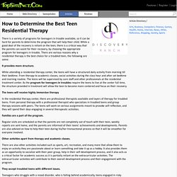 Teen residential therapy