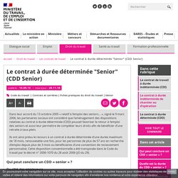 """Le contrat à durée déterminée """"Senior"""" (CDD Senior)"""