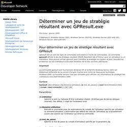Déterminer un jeu de stratégie résultant avec GPResult.exe