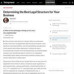Determining the Best Legal Structure for Your Business