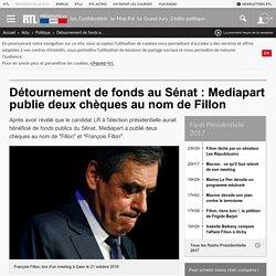 Détournement de fonds au Sénat : Mediapart publie deux chèques au nom de Fillon
