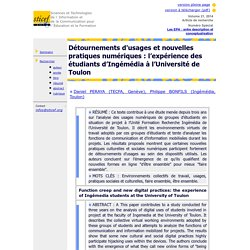 Revue Sticef.org - Détournements d'usages et nouvelles pratiques numériques: l'expérience des étudiants d'Ingémédia à l'Université de Toulon