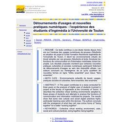 Détournements d'usages et nouvelles pratiques numériques: l'expérience des étudiants d'Ingémédia à l'Université de Toulon