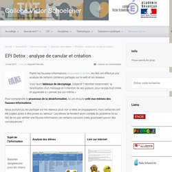 EPI Detox : analyse de canular et création