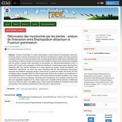 UNIVERSITE PARIS SUD 21/11/14 Thèse en ligne : Détoxication des mycotoxines par les plantes : analyse de l'interaction entre Brachypodium distachyon et Fusarium graminearum