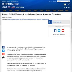 Report: 75% Of Detroit Schools Don't Provide Adequate Education