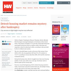 Detroit housing market remains mystery after bankruptcy