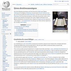 Livres deutérocanoniques : l'Ancien Testament