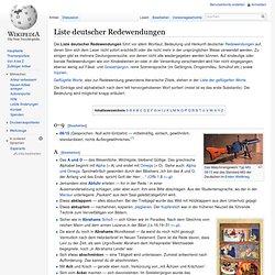 Liste deutscher Redewendungen