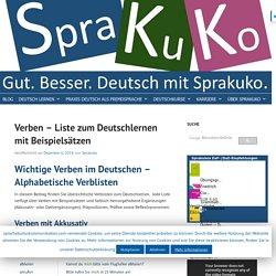 Verben - Liste zum Deutschlernen mit Beispielsätzen