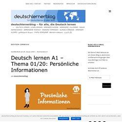Deutsch lernen A1 – 01/20: Persönliche Informationen – deutschlernerblog