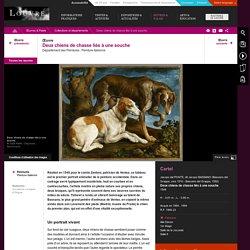 Bassano Jacopo. 1548. Deux chiens de chasse liés à une souche