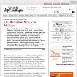 « Le Deuxième Sexe » en héritage, par Sylvie Chaperon (Le Monde diplomatique, janvier 1999)