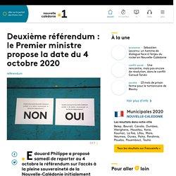Deuxième référendum : le Premier ministre propose la date du 4 octobre 2020