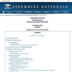 JO ASSEMBLEE NATIONALE 26/04/16 Questions sur l'agriculture biologique