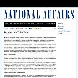 Devaluing the Think Tank > Publications > National Affairs