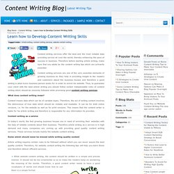 Learn how to Develop Content Writing Skills