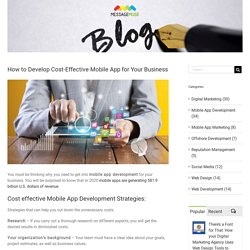 How to Develop Cost-Effective Mobile App for Your Business