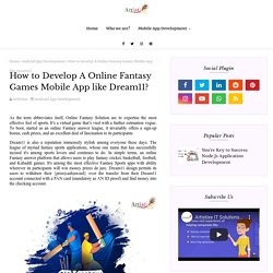 How to Develop A Online Fantasy Games Mobile App like Dream11?