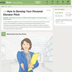 How to Develop Your Personal Elevator Pitch