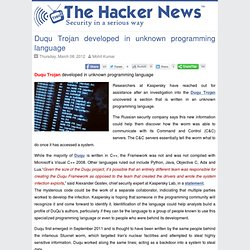 Duqu Trojan developed in unknown programming language