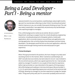 Being a Lead Developer - Part 1 - Being a mentor | DaveDevelopme