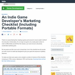 An Indie Game Developer's Marketing Checklist (Including Portable Formats)