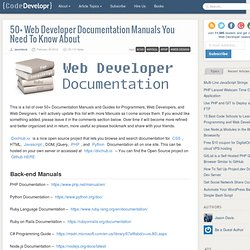 50 Web Developer Documentation Manuals You Need To Know About