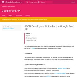 JSON Developer's Guide for the Google Feed API - Google Feed API