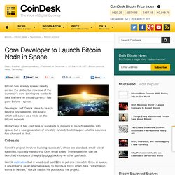 Core Developer to Launch Bitcoin Node in Space