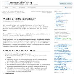 What is a Full Stack developer? | Laurence Gellert's Blog