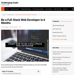 Be a Full-Stack Web Developer in 6 Months - Challenging Coder