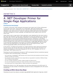 ASP.NET MVC 5 - A .NET Developer Primer for Single-Page Applications