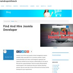 Discover and Recruit Experienced Joomla Developer - Raindrops Infotech