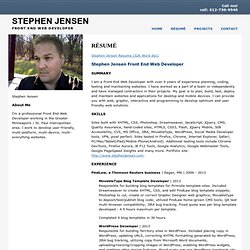 Stephen Jensen: Front End Web Developer: Resume