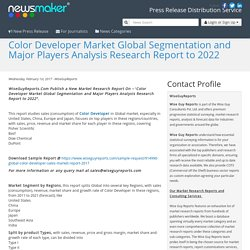 Color Developer Market Global Segmentation and Major Players Analysis Research Report to 2022