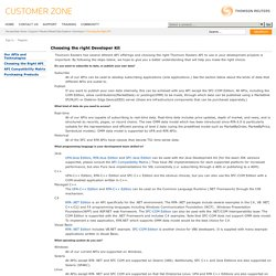 Thomson Reuters: Customer Zone - Support - Reuters Market Data Systems - Developer - APIs and Technologies - Choosing the right Developer Kit