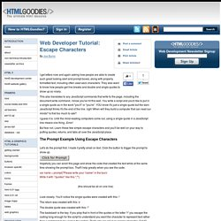 Web Developer Tutorial: Escape Characters
