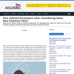 Hire Android Developers after Considering these Non-Technical Skills