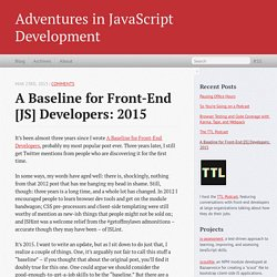 A Baseline for Front-End [JS] Developers: 2015