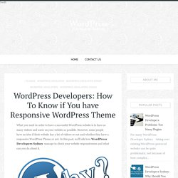 WordPress Developers: How To Know if You have Responsive WordPress Theme - WordPress Developer Sydney - Sydney Expert Wordpress Development