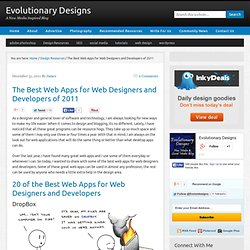 The Best Web Apps for Web Designers and Developers of 2011