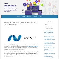Hire Dot Net Developers Ready To Work On Latest ASP.NET 4.5 Features – AIS Technolabs