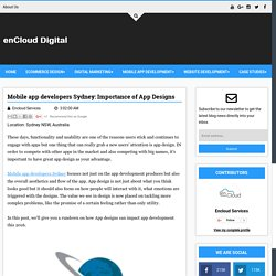 Mobile app developers Sydney: Importance of App Designs - Digital enCloud