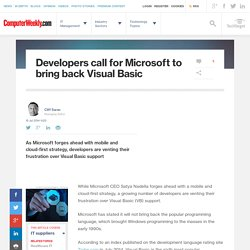 Developers call for Microsoft to bring back Visual Basic