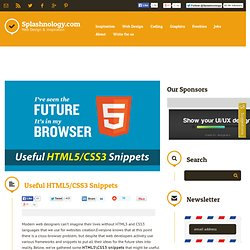 Useful HTML5/CSS3 Snippets